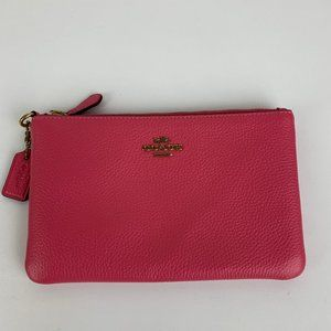 New Coach Small Pink Leather Wristlet Wallet